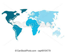 Multicolored World Map Divided To Six Continents In S North America South America Africa Europe Asia And Australia Oceania Simplified