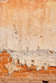 White Exposed Brick Wall Red Clay Stained On The White Exposed Brick Concrete Wall Stock