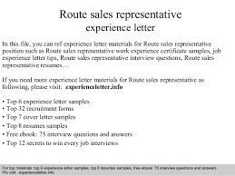 route sales representative experience letter in this file you can ref experience letter materials for route sales