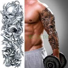 водонепроницаемая временная татуировка наклейка череп голова роза часы полная