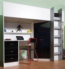 Pine Effect Bedroom Furniture High Sleeper Cabin Bed With Desk And Wardrobe Calder M2270