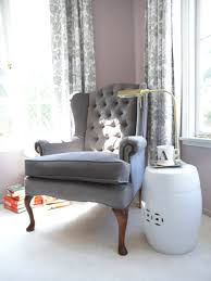 attractive interior design with freedom furniture light gray upholstered wingback chair with round side accent