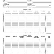 painting estimate form sample painting estimate sheet templates with painters estimate template