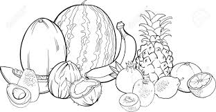 Black And White Cartoon Illustration Of Tropical Fruits Food Fruit