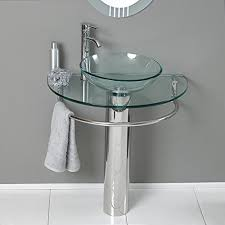 24 bathroom pedestal vanity glass vessel sink set