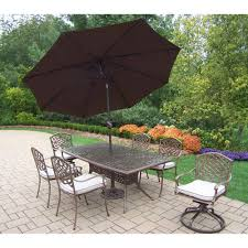 Image Funky 9piece Aluminum Outdoor Dining Set Oatmeal Cushions And Brown Umbrella Weerklankinfo 9piece Aluminum Outdoor Dining Set Oatmeal Cushions And Brown