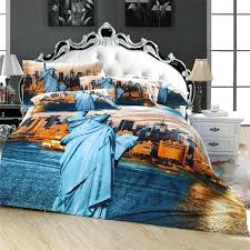new york city skyline duvet set statue of liberty 3d new york scenic city bedding set