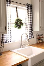 kitchen sink window treatment ideas awesome love the black and white buffalo check curtains design kitchen