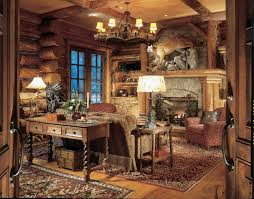 home office cabin. Rustic Cabin Home Office With Console Table 5