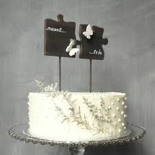 Cake Topper Puzzle Piece Wedding Cake Topper With Butterflies Etsy