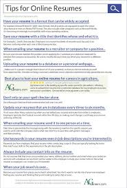 Infographic - Title: Tips for Online Resumes. Sub-title: 10 awesome tips