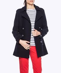 women s pea coat reefer jacket navy blue wool double ted only size