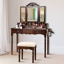make up vanity table set tri folding mirror soft padded bench w 7 drawer su349