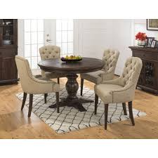 geneva hills 5 piece round dining set with tufted side chairs wood rustic brown jofran inc