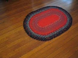 vintage handmade braided rugs hand rug small oval red blue by