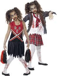 girls zombie cheerleader school girl costume fancy dress party kids image 2