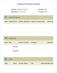 Word Travel Itinerary Template Sample Business Travel Itinerary Template Free Download