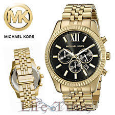 michael kors mens watch new mens michael kors mk8286 lexington gold black chronograph watch