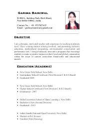 Teacher Resume Format Pelosleclaire Com