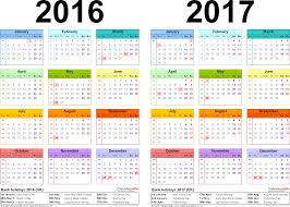 yearly calendar 2017 template two year calendars for 2016 2017 uk for excel