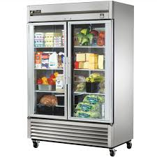 ft stainless steel 2 glass door refrigerator