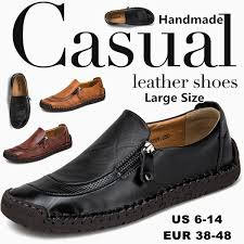 Handmade Leather Casual Shoes for Men <b>Large Size Men Leather</b> ...