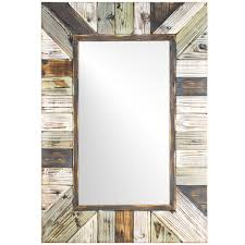 American Art Decor Rustic Wood Plank Wall Vanity Farmhouse Mirror - Multi -  Free Shipping Today - Overstock.com - 23309872