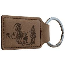 preview tool dark brown faux leather rectangle keychain