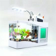 office desk aquarium. 2017 Popular Usb Desktop Mini Fish Tank Aquarium Glass Lcd Timer Clock Led Lamp Light Black Office Desk F