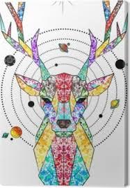 Jelen Vesmír Geometrické Barevné Tetování