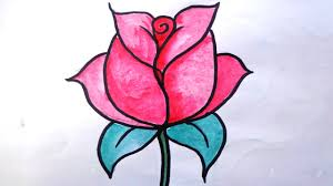 Small Picture How To Draw A Rose For Kids Draw Rose How To Draw Rose Coloring