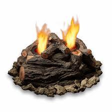 real flame oak concrete gas fire pit log set