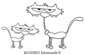 coloring book family theme outlined kitten by a mother cat