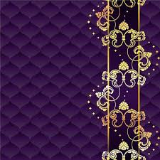 Golden Floral With Purple Textures Background Vector Papers