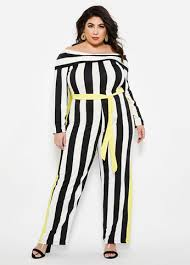 Unique one shoulder dresses of different colors ideas Infinity Long Sleeve Striped Belted Jumpsuit Black White Ashley Stewart Plus Size Dresses In Sizes 10 To 36 Ashley Stewart