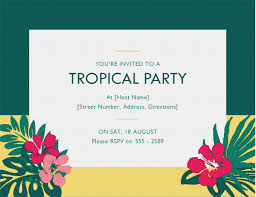Tropical Party Invitations Party Invitation Tropical