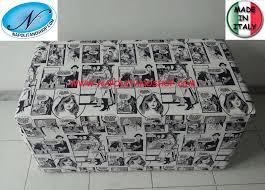 Legno Bianco Nero : Pouf panca in legno rivestito tessuto fumetto bianco e nero
