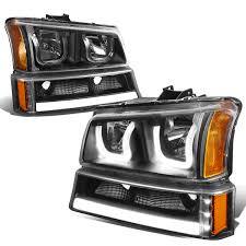 Lights For 2006 Chevy Silverado For 2003 To 2006 Chevy Silverado Classic Avalanche Led Drl Bar Dual Halo Headlights Turn Signal Black Housing Amber Corner Headlamp 04 05