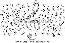 treblecleff decorative treble clef with musical notes symbols vectors