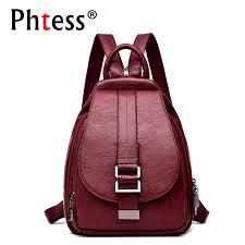 <b>2019 Women</b> Leather <b>Backpacks Vintage Female</b> Shoulder Bag Sac ...