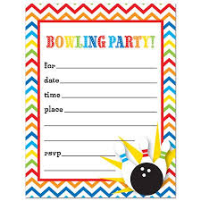 Bowling Party Invitations Bowling Fill In Birthday Party Invitations And Envelopes 24 Count