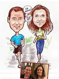 photo to caricature gift happy couple jogging together water color by david zamudio