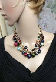 Crystal Beads Necklace Designs In Gold Chicos Multicolored Bead Glass Gold Chain Necklace