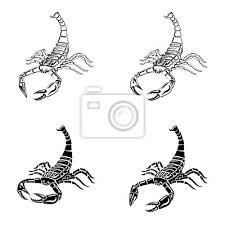 Fototapeta Sada černých A Bílých Scorpionů Pro Tetování Znamení Zvěrokruhu