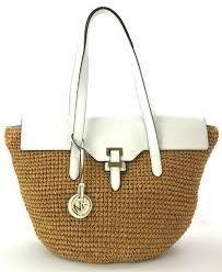 michael kors naomi optic white leather straw shoulder bag