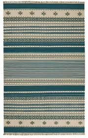 kovalam geometric stripes blue grey white wool kilim rug