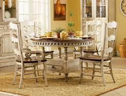 summerglen 5 piece round dining table with three rung ladderback back chairs in two tone off