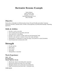 Resume Samples For Bartenders Professional Resume Templates