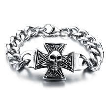 whole snless steel jewelry biker bracelet 316l snless steel skull bracelet for mens