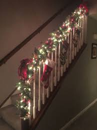 Garland With Red And White Lights Christmas Staircase Garland Tis The Season The Most